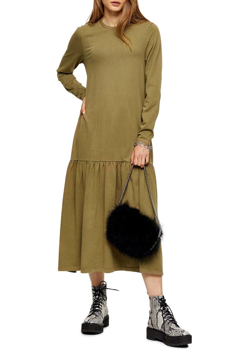 Topshop Long Sleeve Acid Wash Drop Waist Midi Dress