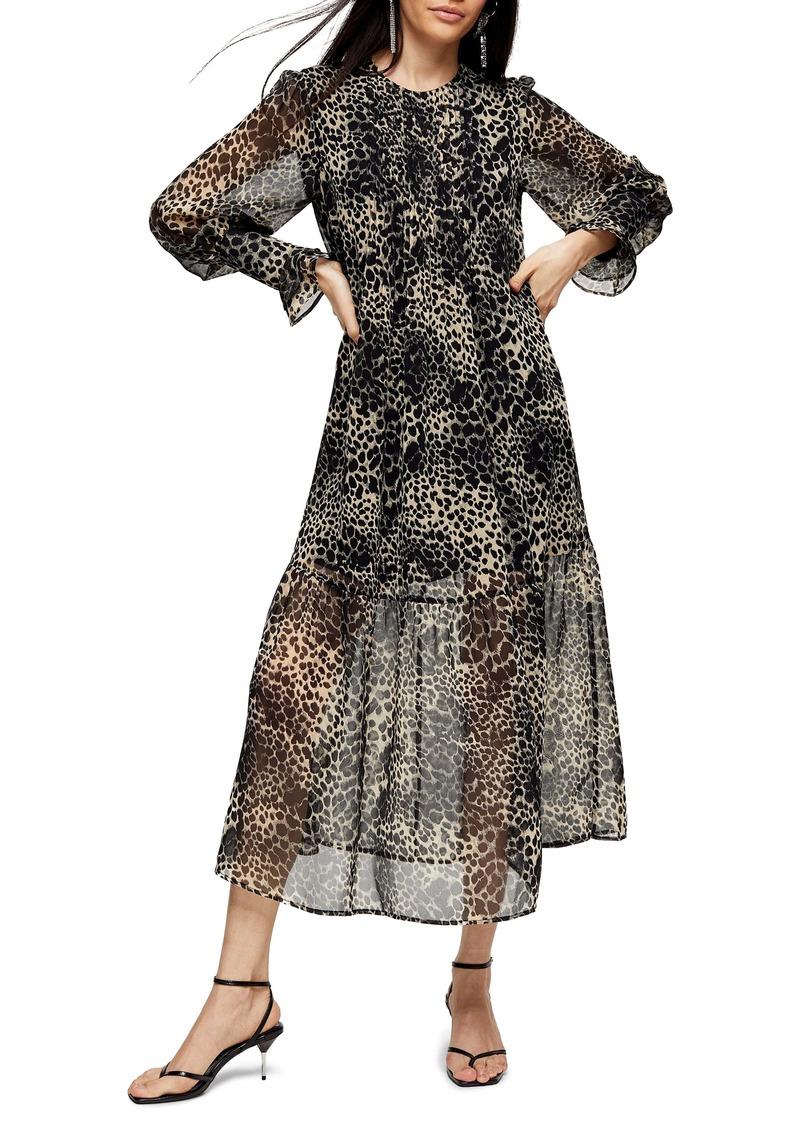 Topshop Long Sleeve Animal Print Midi Dress