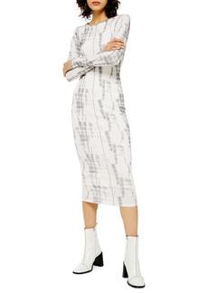 Topshop Long Sleeve Batik Mesh Midi Dress