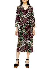 Topshop Long Sleeve Belted Floral Midi Dress