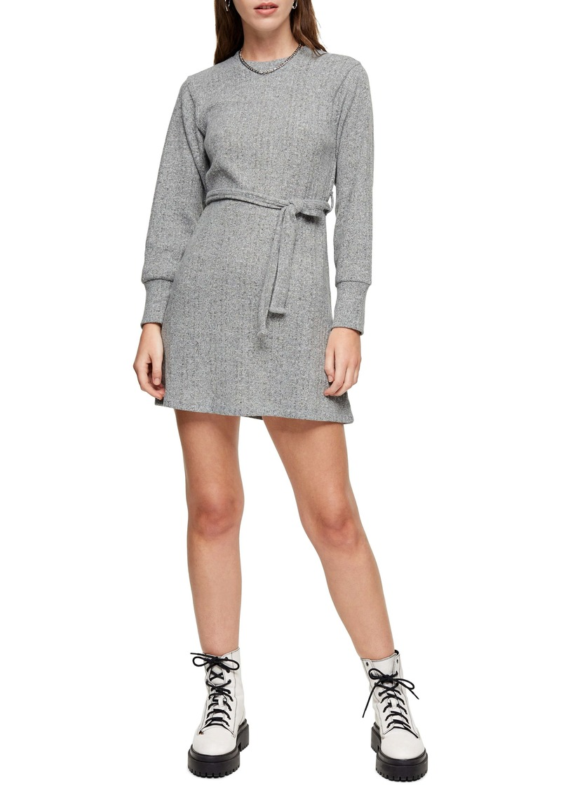 Topshop Long Sleeve Belted Minidress (Regular & Petite)