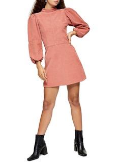 Topshop Long Sleeve Corduroy Babydoll Minidress