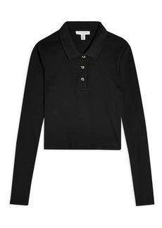 Topshop Long Sleeve Crop Polo Shirt