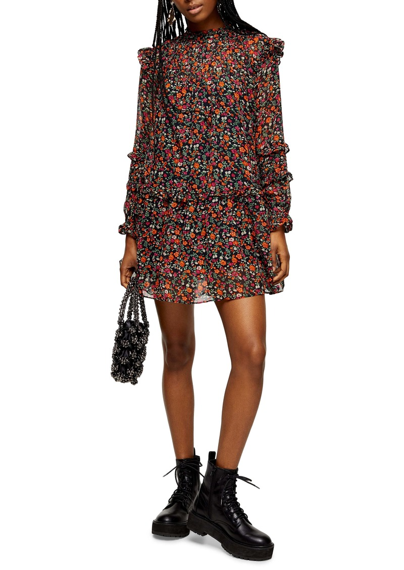 Topshop Long Sleeve Ditsy Floral Minidress