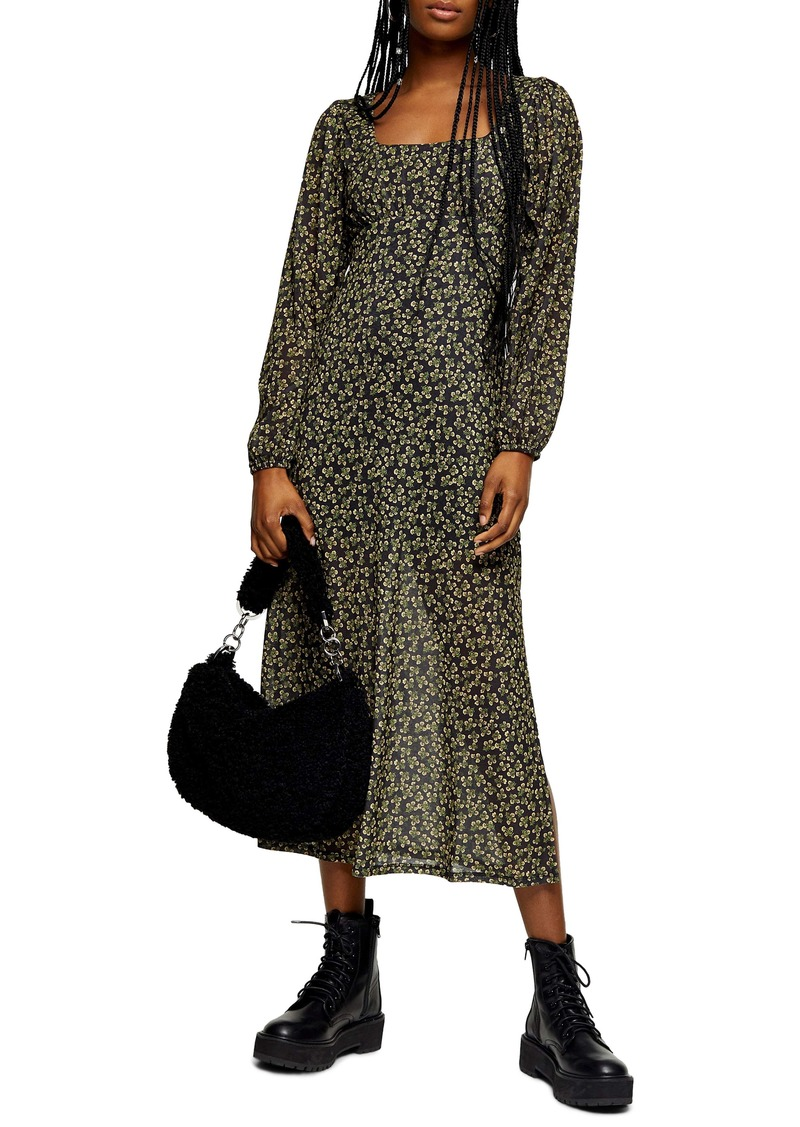 Topshop Long Sleeve Floral Mesh Midi Dress