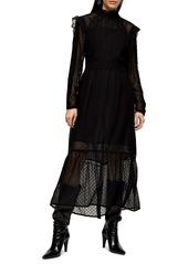 Topshop Long Sleeve Lace Trim Midi Dress