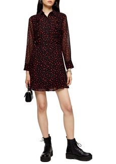 Topshop Long Sleeve Minidress