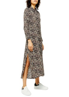 Topshop Long Sleeve Open Back Floral Shirtdress