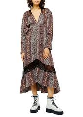Topshop Long Sleeve Snake Print Dress