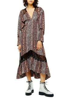 Topshop Long Sleeve Snake Print Dress