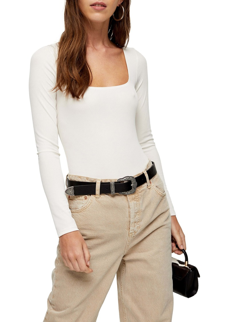 Topshop Long Sleeve Square Neck Bodysuit