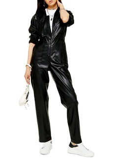 Topshop Long Sleeve Straight Leg Faux Leather Jumpsuit