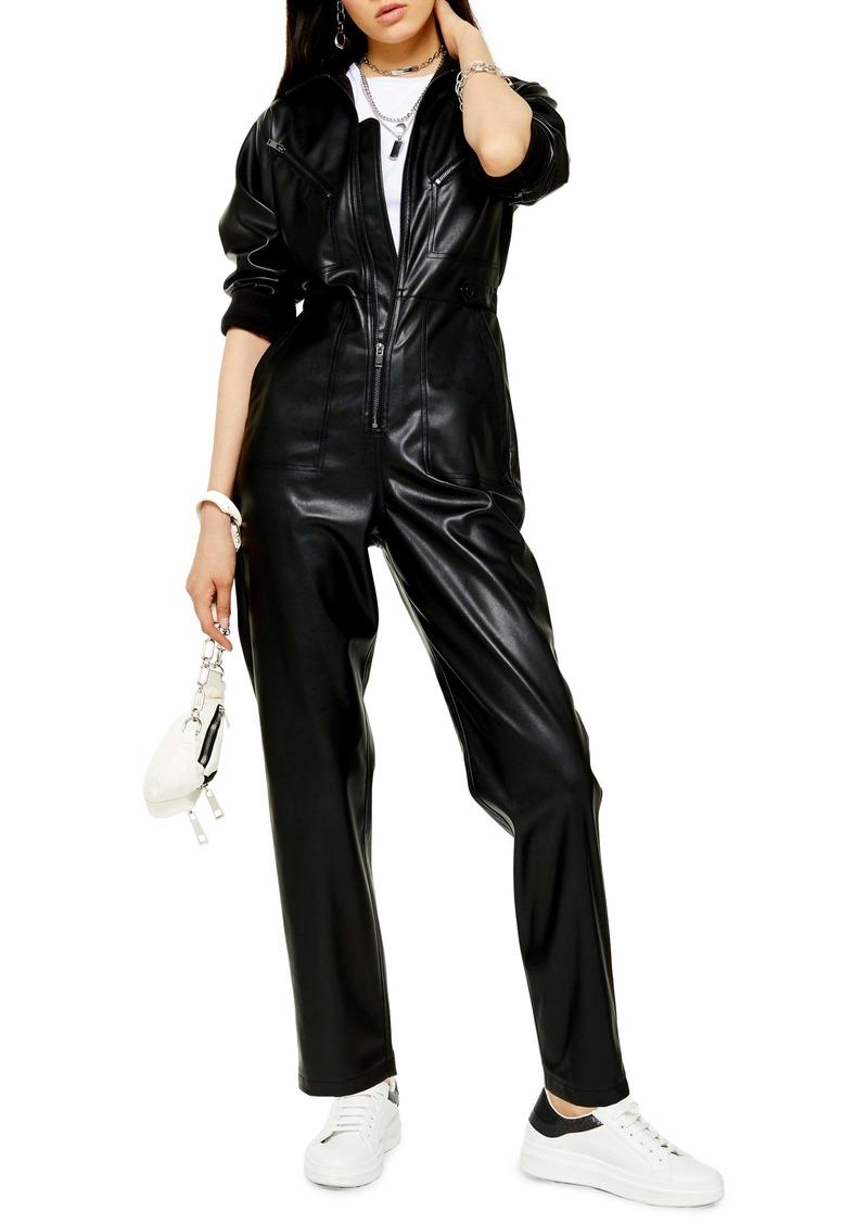 Topshop Long Sleeve Straight Leg Faux Leather Jumpsuit