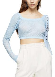 Topshop Long Sleeve Textured Crop Top