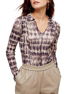 Topshop Long Sleeve Tie Dye Crop Top