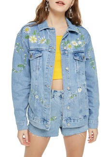 Topshop Love Me Not Embroidered Denim Jacket