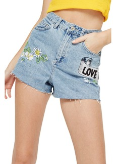 Topshop Love Me Not Embroidered Mom Shorts