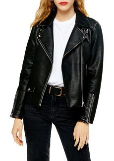 Topshop Lucky Faux Leather Biker Jacket