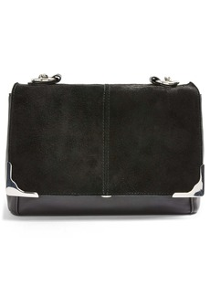 Topshop Lulu Suede & Faux Leather Shoulder Bag