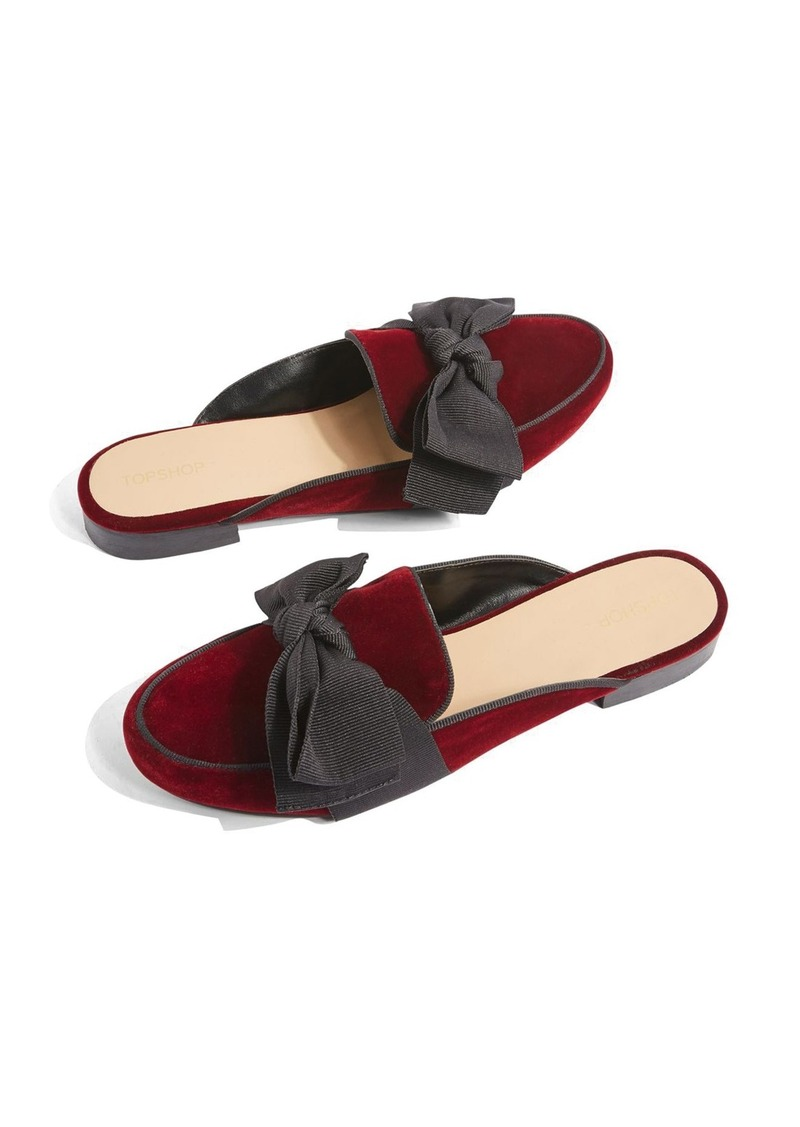 2e120818b Topshop Topshop Luna Bow Detail Backless Loafers