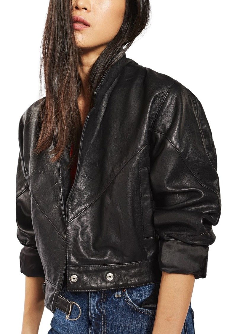 142e8e6323a1 Topshop Topshop Maggie Cropped Leather Jacket   Outerwear