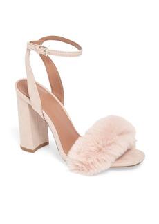 Topshop Maison Faux Fur Block Heel Sandal (Women)