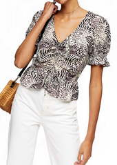 Topshop Margot Animal Print Ruched Top
