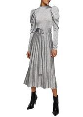 Topshop Marl Pleated Long Sleeve Midi Dress