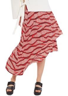 Topshop Matchstick Print Midi Skirt