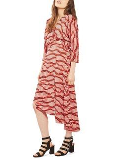 Topshop Matchstick Print Wrap Dress