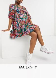 Topshop Maternity volume sleeve mini dress in multi