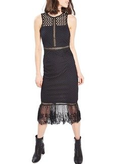 Topshop Mesh & Lace Midi Dress
