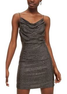 Topshop Metallic Cowl Neck Body-Con Dress