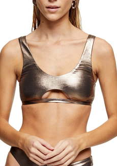 Topshop Metallic Cutout Bikini Top