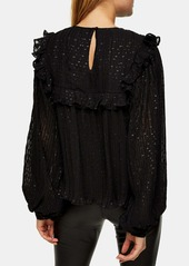 Topshop Metallic Dot Pleated Yoke Blouse