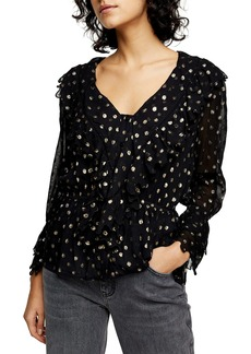 Topshop Metallic Dot Ruffle Sleeve Blouse