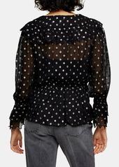 Topshop Metallic Dot Ruffle Sleeve Blouse