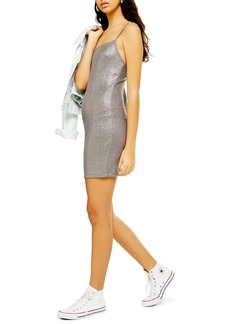 Topshop Metallic Foil Body-Con Minidress