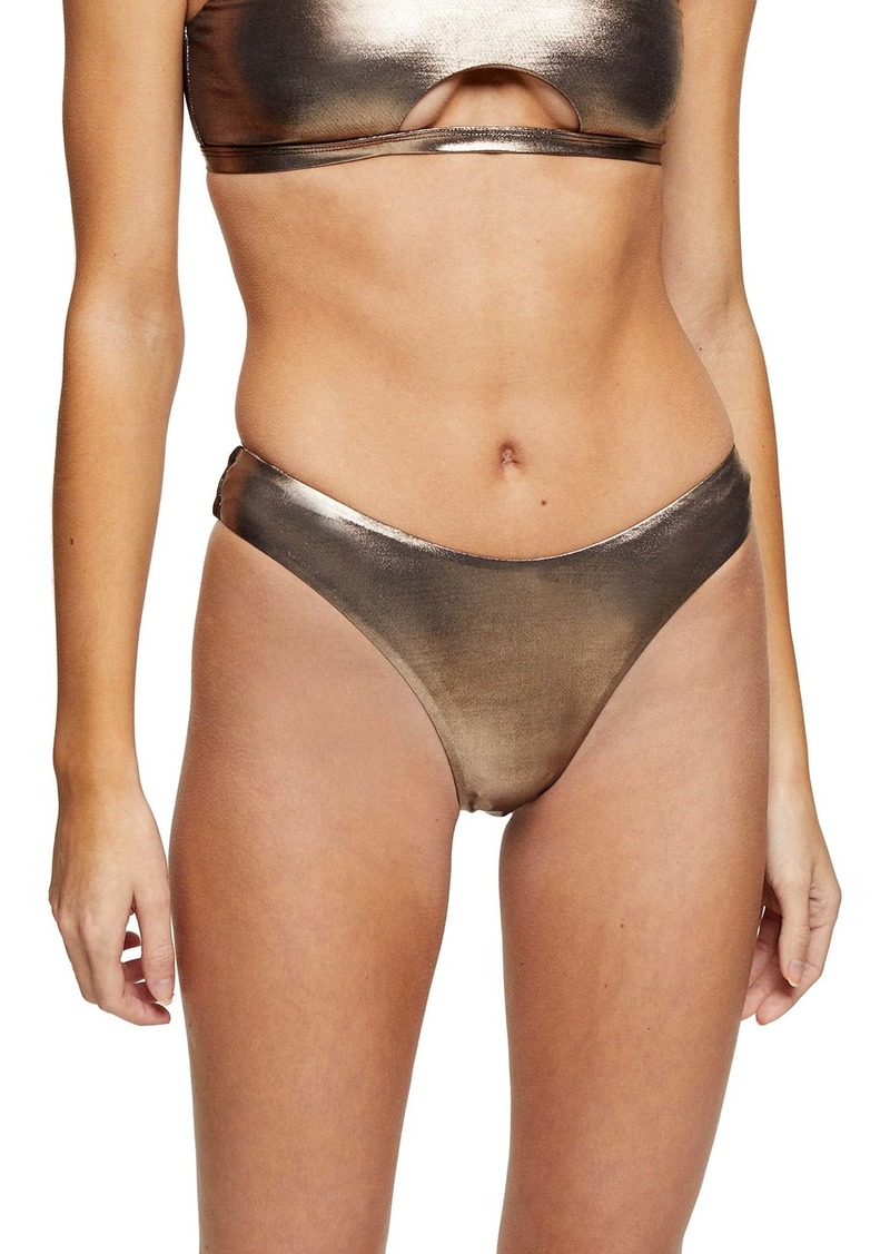 Topshop Metallic High Leg Bikini Bottoms