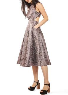 Topshop Metallic Jacquard Midi Dress