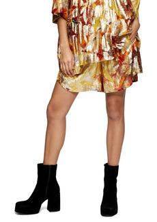 Topshop Metallic Jacquard Shorts