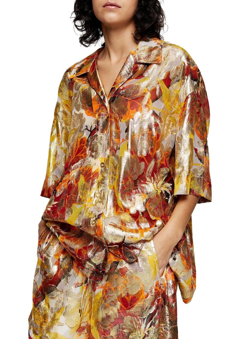 Topshop Metallic Jacquard Split Shirt