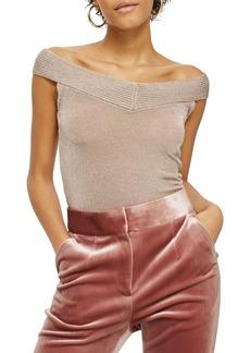 Topshop Metallic Off the Shoulder Knit Top