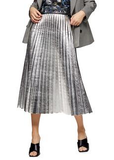 Topshop Metallic Pleated Midi Skirt