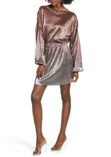 Topshop Metallic Plissé Minidress
