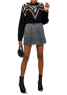 Topshop Metallic Plissé Miniskirt