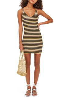 Topshop Metallic Stripe Body-Con Dress
