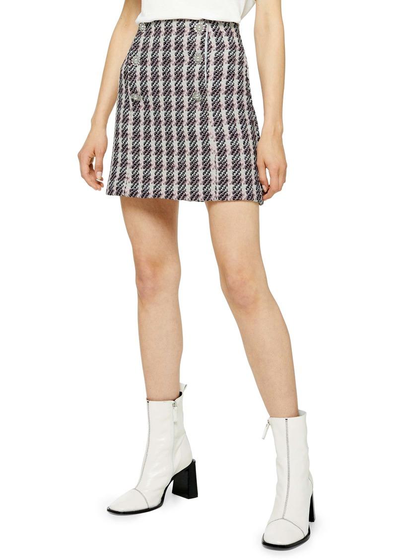 Topshop Metallic Thread Plaid Bouclé Miniskirt