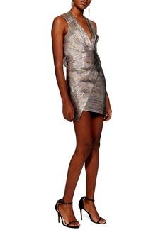 Topshop Metallic Wrap Dress