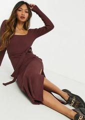 Topshop midi dress in burgundy